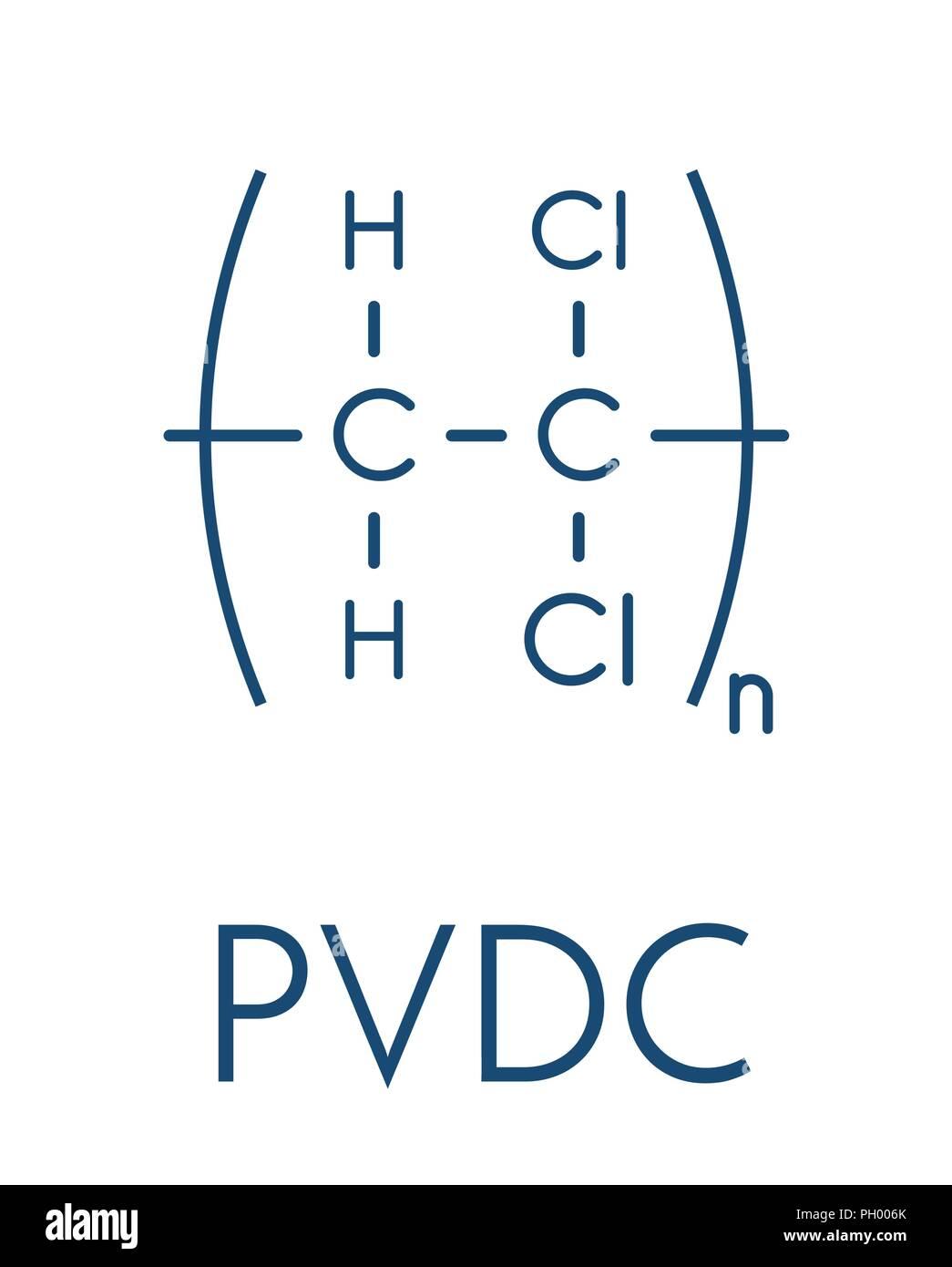 Polyvinylidene chloride (PVDC) polymer, chemical structure. Skeletal formula. - Stock Vector