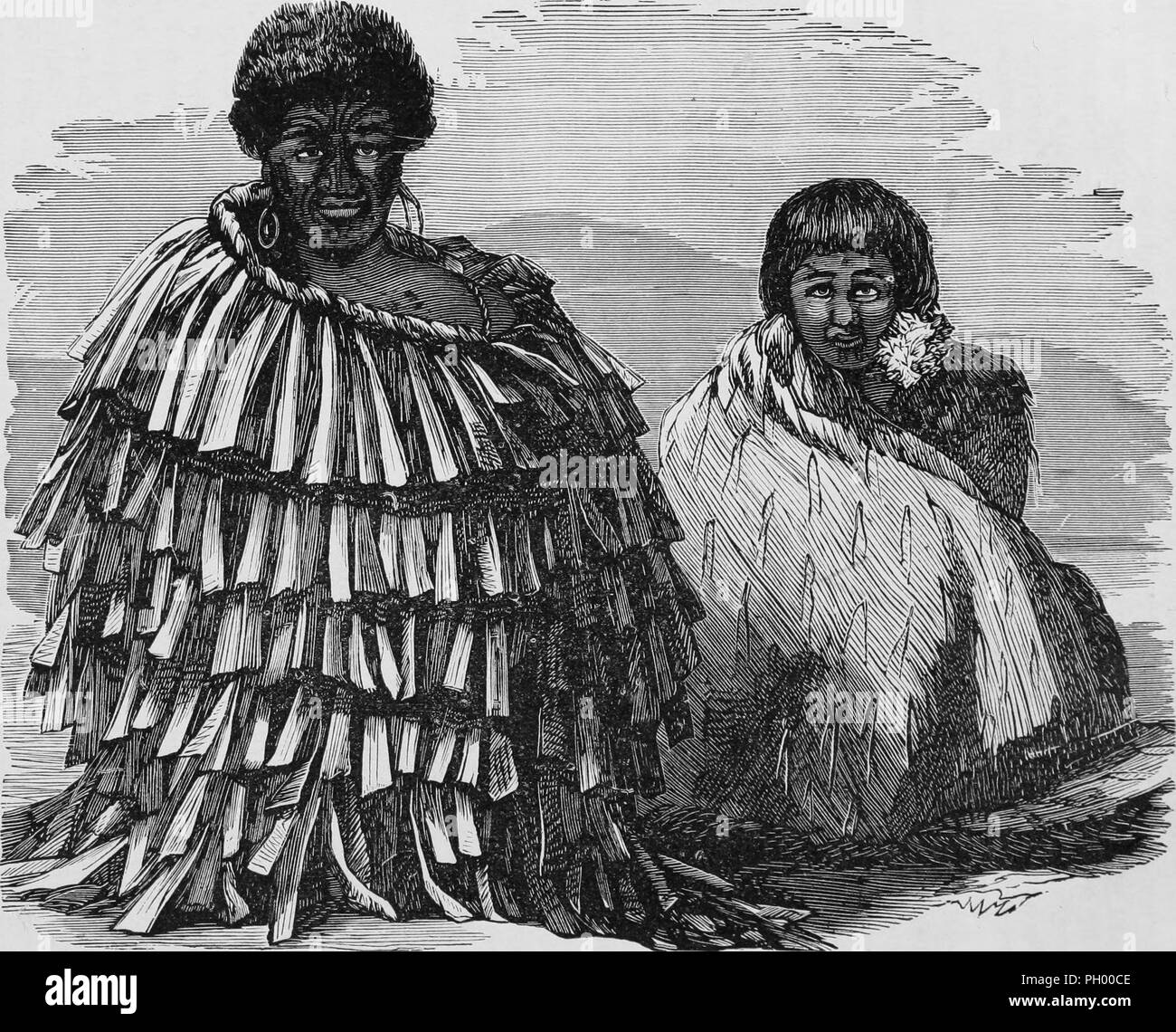d174c1372 Black and white vintage print, depicting a seated Maori Chief, with facial  ta moko