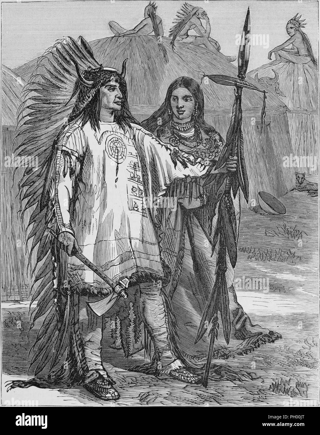 Black and white vintage print, depicting the Mandan Chief Mato-tope, aka Four Bears, standing in full length, three-quarter view, wearing full ceremonial garb, including a feathered headdress, made of ermine, with horns on either side, and holding a hatchet and a lance, with his wife, Brown Woman, standing slightly behind him, wearing a similar but longer tunic, and men seated on top of large, circular earth lodges in the background, located in North America, published in John George Wood's volume 'The uncivilized races of men in all countries of the world, being a comprehensive account of the - Stock Image
