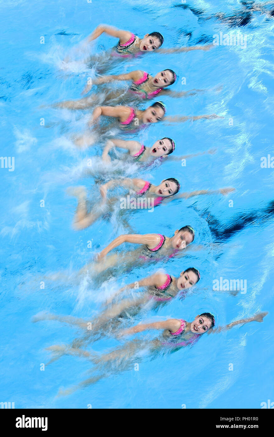 Jakarta, Indonesia. 29th Aug, 2018. Swimmers of the DPRK compete during the Artistic Swimming Women's Teams contest at the 18th Asian Games in Jakarta, Indonesia, Aug. 29, 2018. Credit: Li Xiang/Xinhua/Alamy Live News - Stock Image