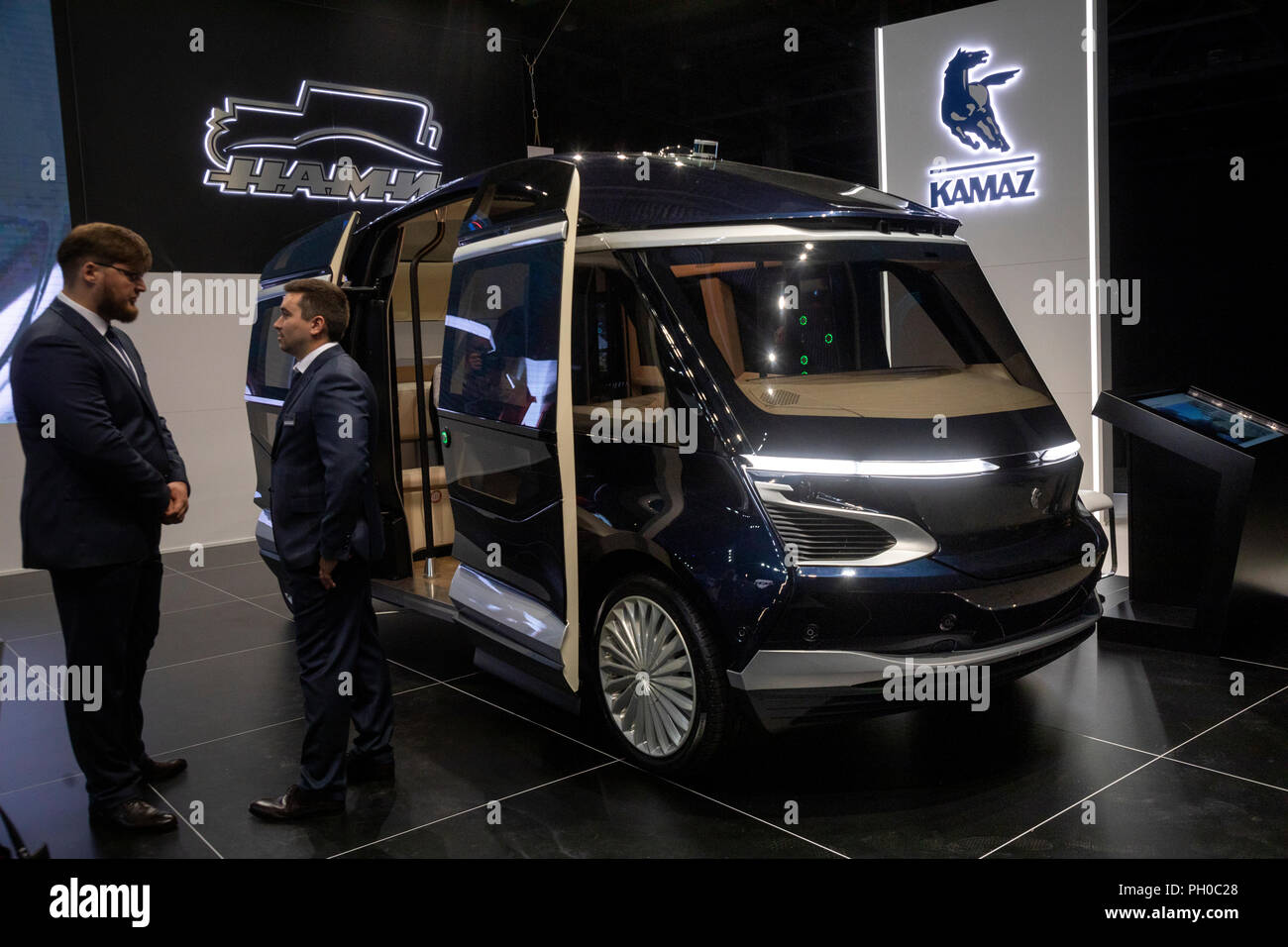 Moscow, Russia. 29th August 2018. A KAMAZ-1221 SHATL autonomous electric bus on display at the 2018 Moscow International Motor Show at the Crocus Expo exhibition center Credit: Nikolay Vinokurov/Alamy Live News - Stock Image
