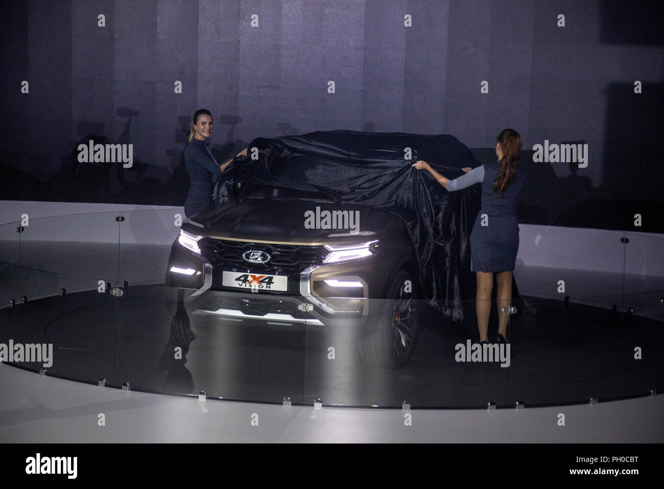 Expo Exhibition Stands Parking : Avtovaz lada stock photos images alamy