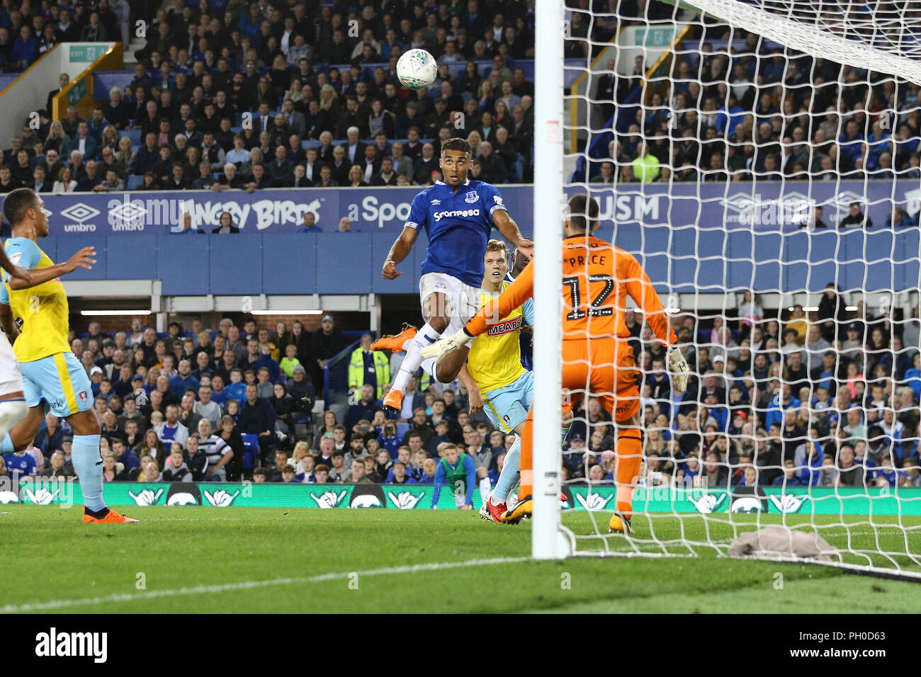 Liverpool Uk 29th August 2018 Dominic Calvert Lewin Of Everton Jumps To Head The Ball To