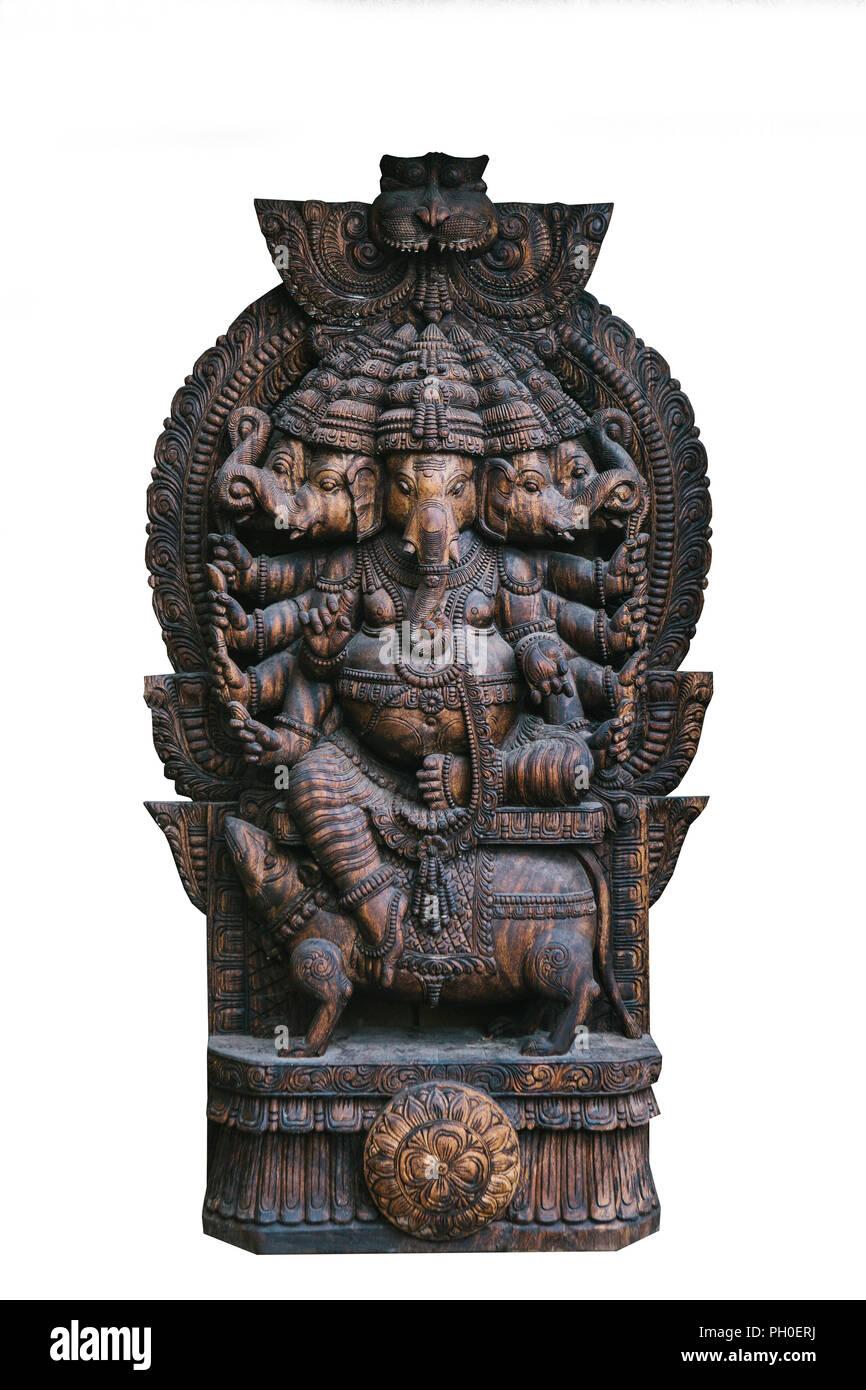 Isolated on white background God Ganesha is an elephant fulfilling desires. Hindu deity. Stock Photo