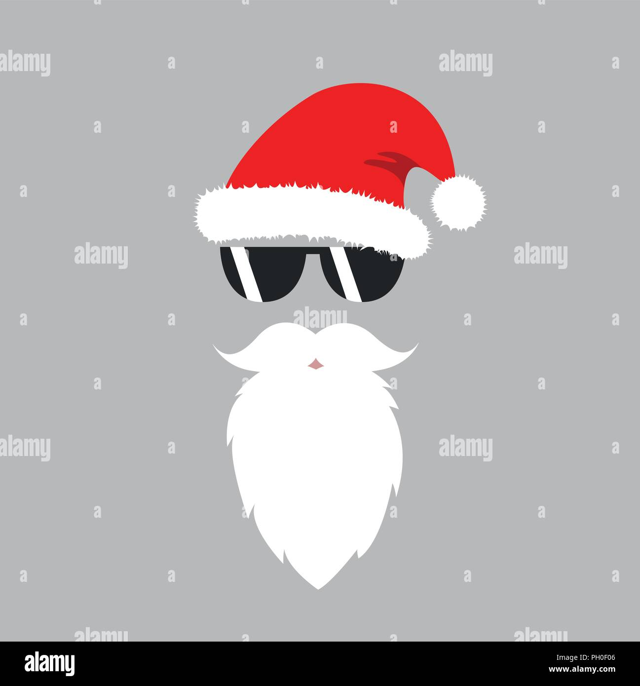 2945a4355e7 hipster Santa Claus mask with sunglasses vector illustartion EPS10 ...