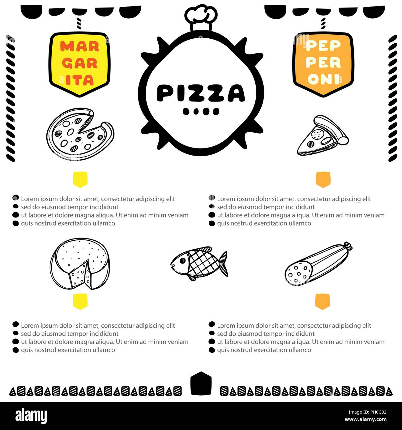 hand drawn pizza menu for cafe template design food flyer stock