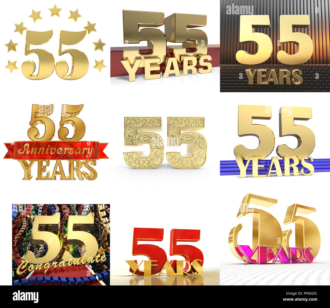 Set of number fifty five year (55 year) celebration design. Anniversary  golden number af0bdc1783