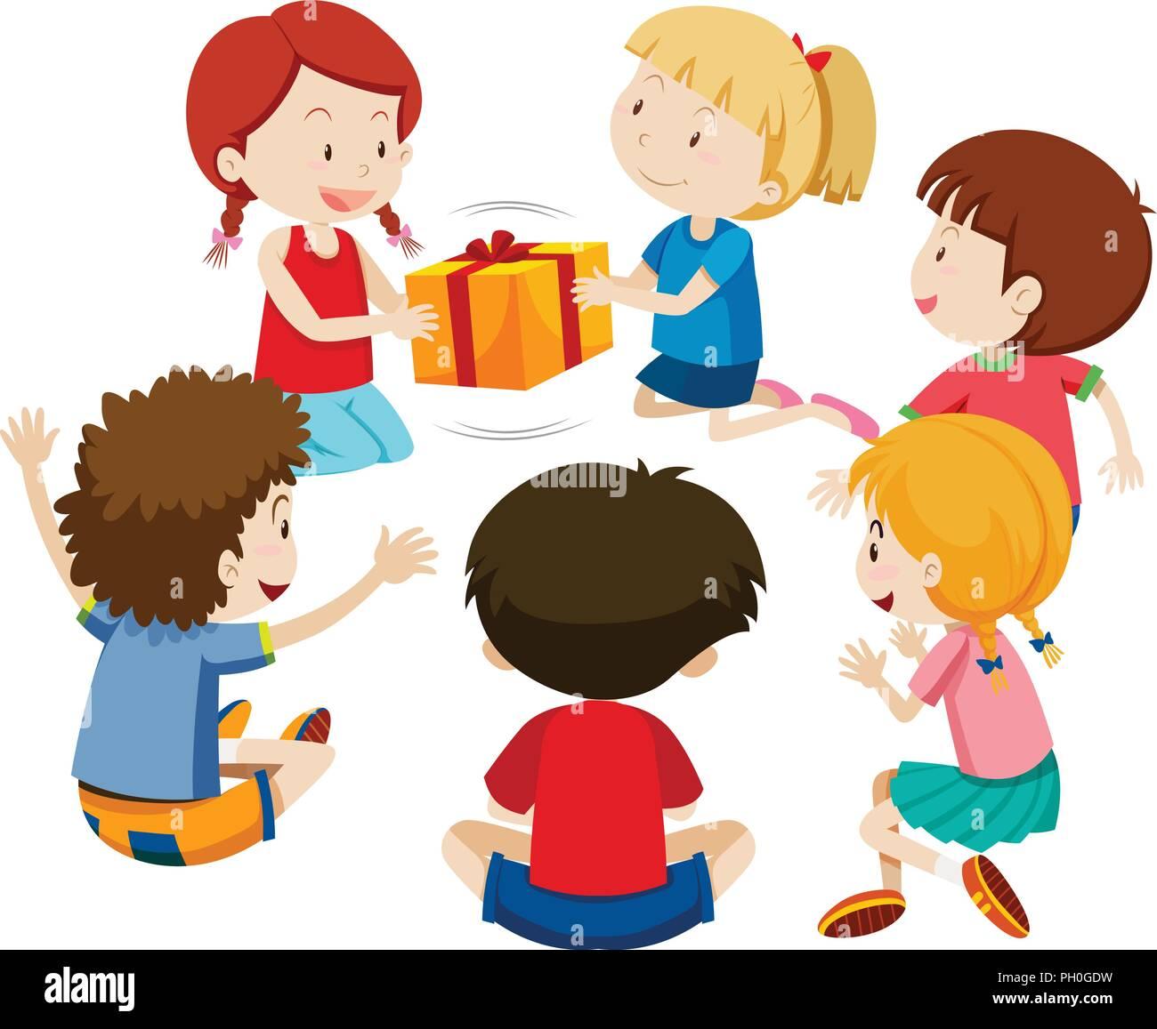 Children play present game illustration - Stock Vector