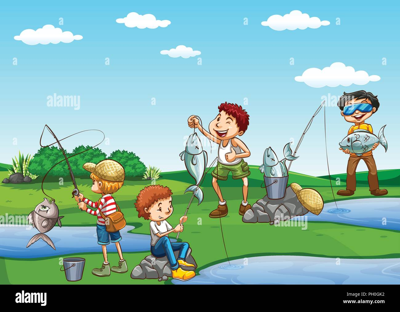 Group of boys fishing illustration - Stock Image