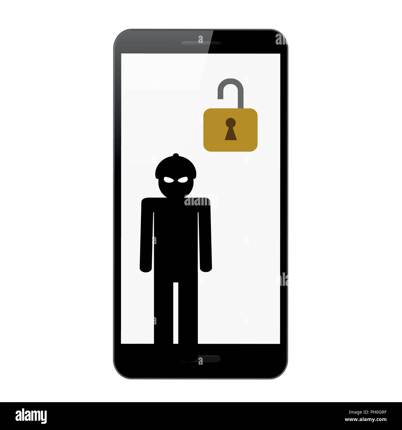 Hacker in the mask inside the smartphone isolated vector illustration EPS10 - Stock Vector