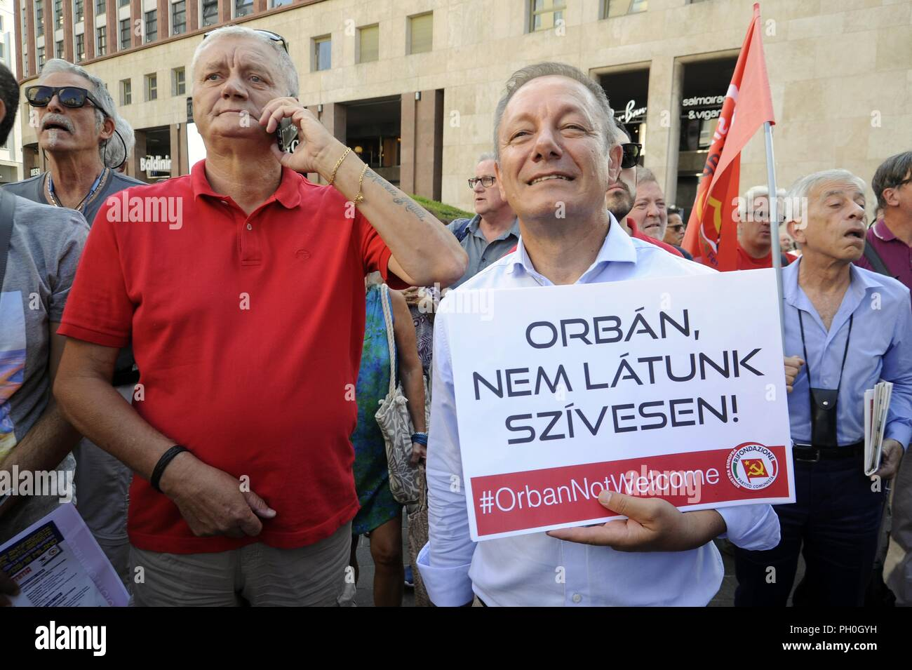 Milan (Italy), 28 August 2018, anti-fascist and anti-racist demonstration called by numerous left-wing and democratic parties and organizations to mark the meeting in the prefecture of Matteo Salvini, minister of the interior and leader of the right-wing party Lega, with the Hungarian premier Viktor Orban. - Stock Image
