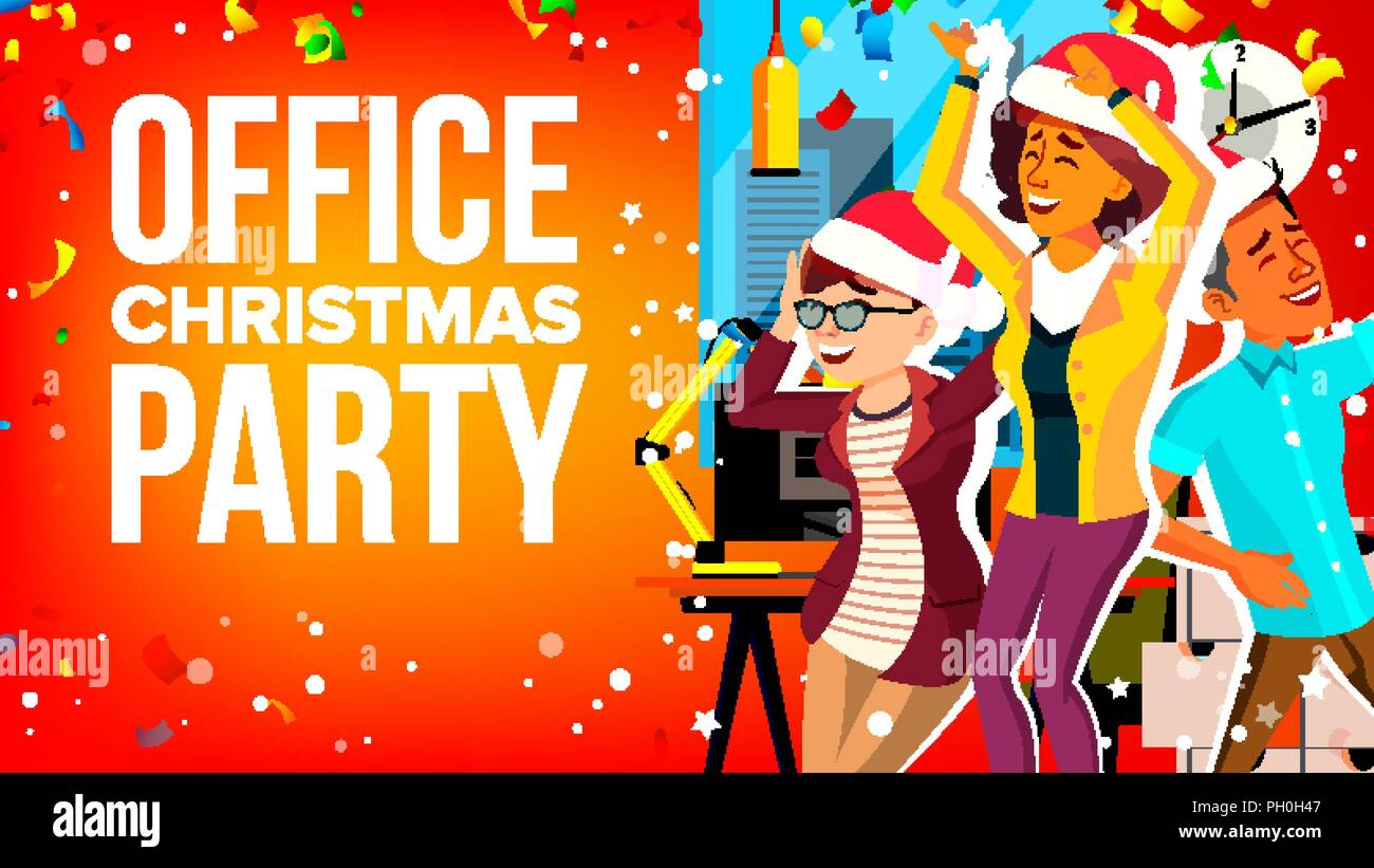 Christmas Party Images Cartoon.Office Christmas Party Vector Businesspeople Team Holiday