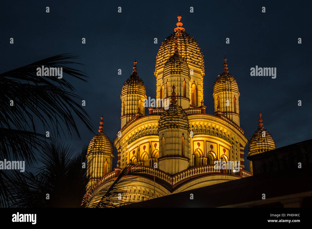Night view of Dakshineswar Kali temple in Kolkata, West Bengal, India. - Stock Image