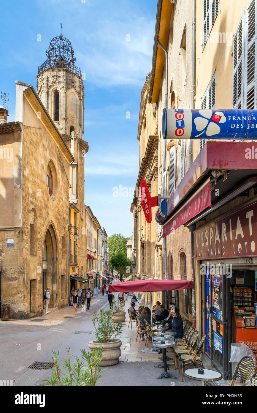 Cafe on Rue Espariat in the old town, Aix-en-Provence, Provence, France - Stock Image