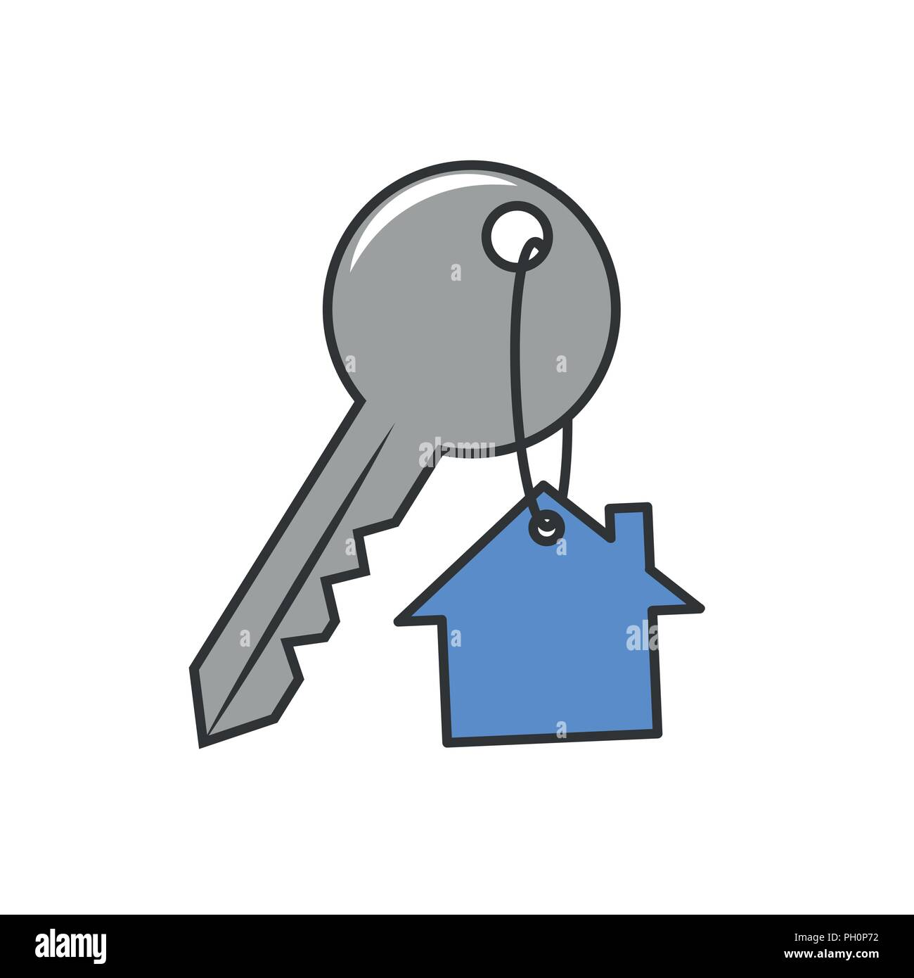 house key with keyring pendant security icon vector illustratione EPS10 - Stock Vector
