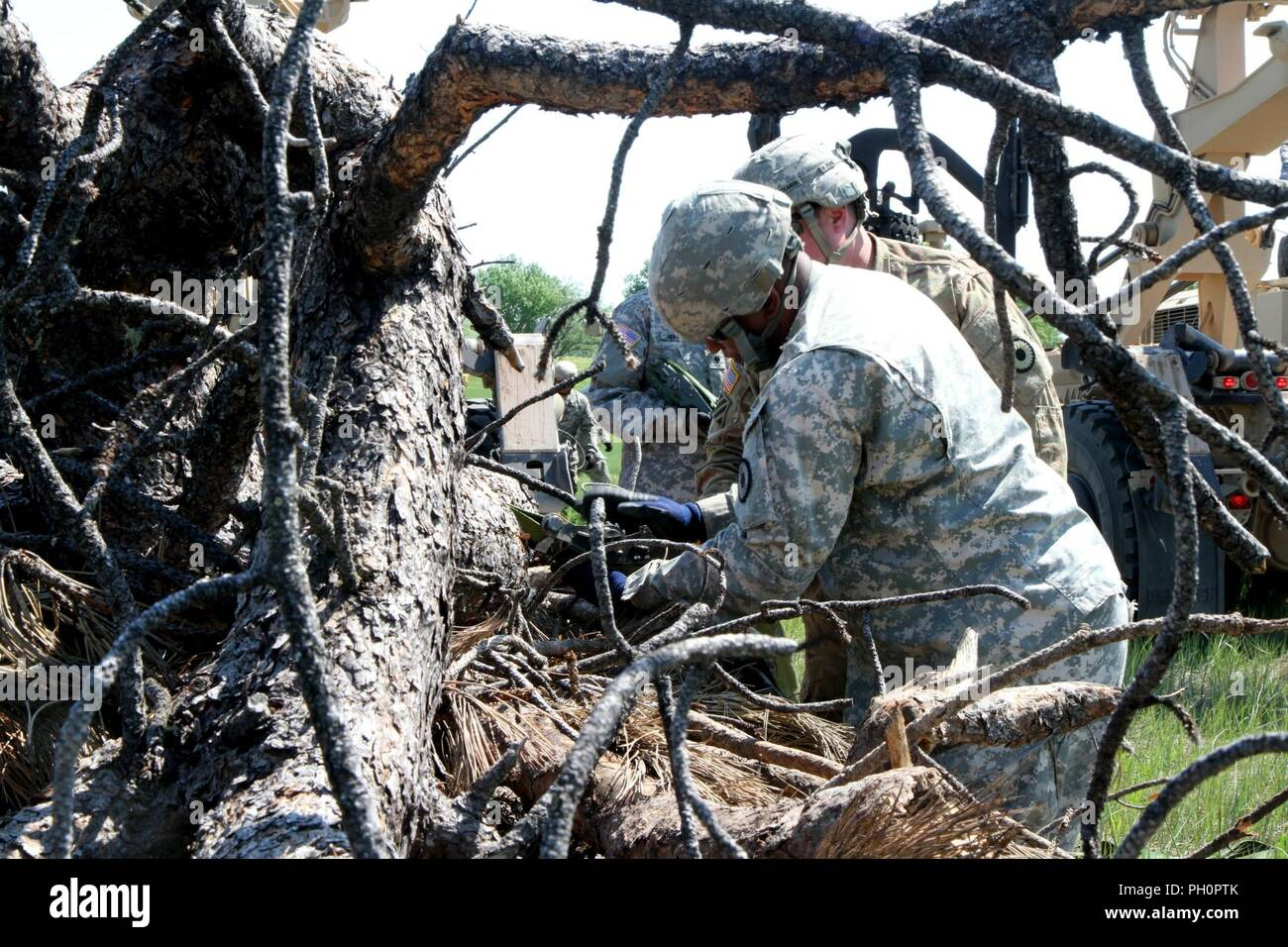 Army Sgt. Waywood Jackson, truck driver with the 137th Transportation Company, Kansas Army National Guard, unloads timber at Red Shirt, S.D., on the Pine Ridge Indian Reservation, June 15, 2018. This mission provides relevant training while also providing humanitarian aid to the Native American reservations. Stock Photo