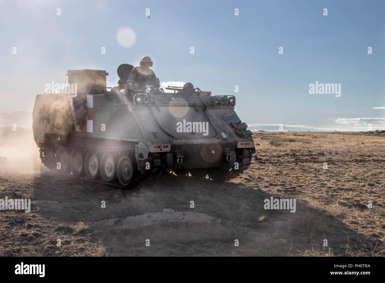 An M113 armored personnel carrier returns to the field from