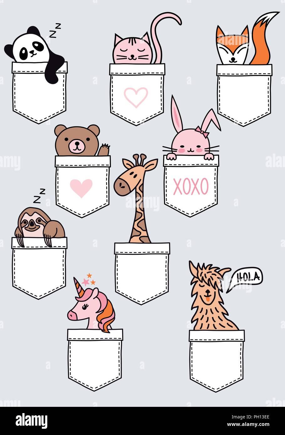 Cute baby animals sitting in a pocket, panda, bear, cat, fox, bunny, sloth, giraffe, unicorn, lama, set of vector design elements Stock Vector