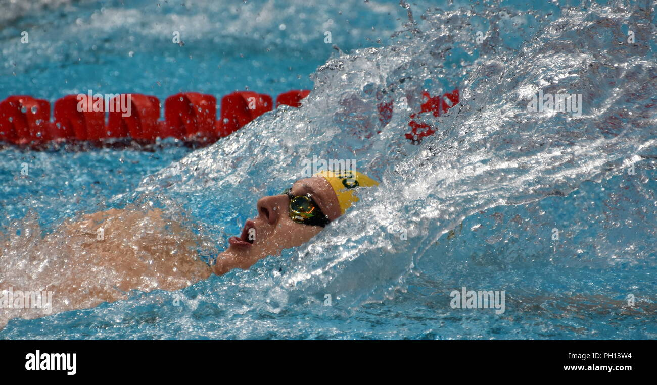 Budapest, Hungary - Jul 26, 2017. Competitive swimmer LARKIN Mitchell (AUS) in the Mixed 4x100m Medley Relay Final. FINA Swimming World Championship w - Stock Image