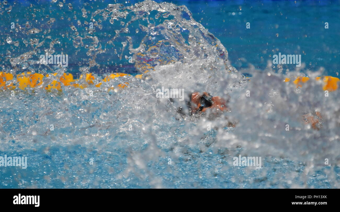 Budapest, Hungary - Jul 26, 2017. Competitive swimmer GREVERS Matt (USA) in the Mixed 4x100m Medley Relay Final. FINA Swimming World Championship was  - Stock Image