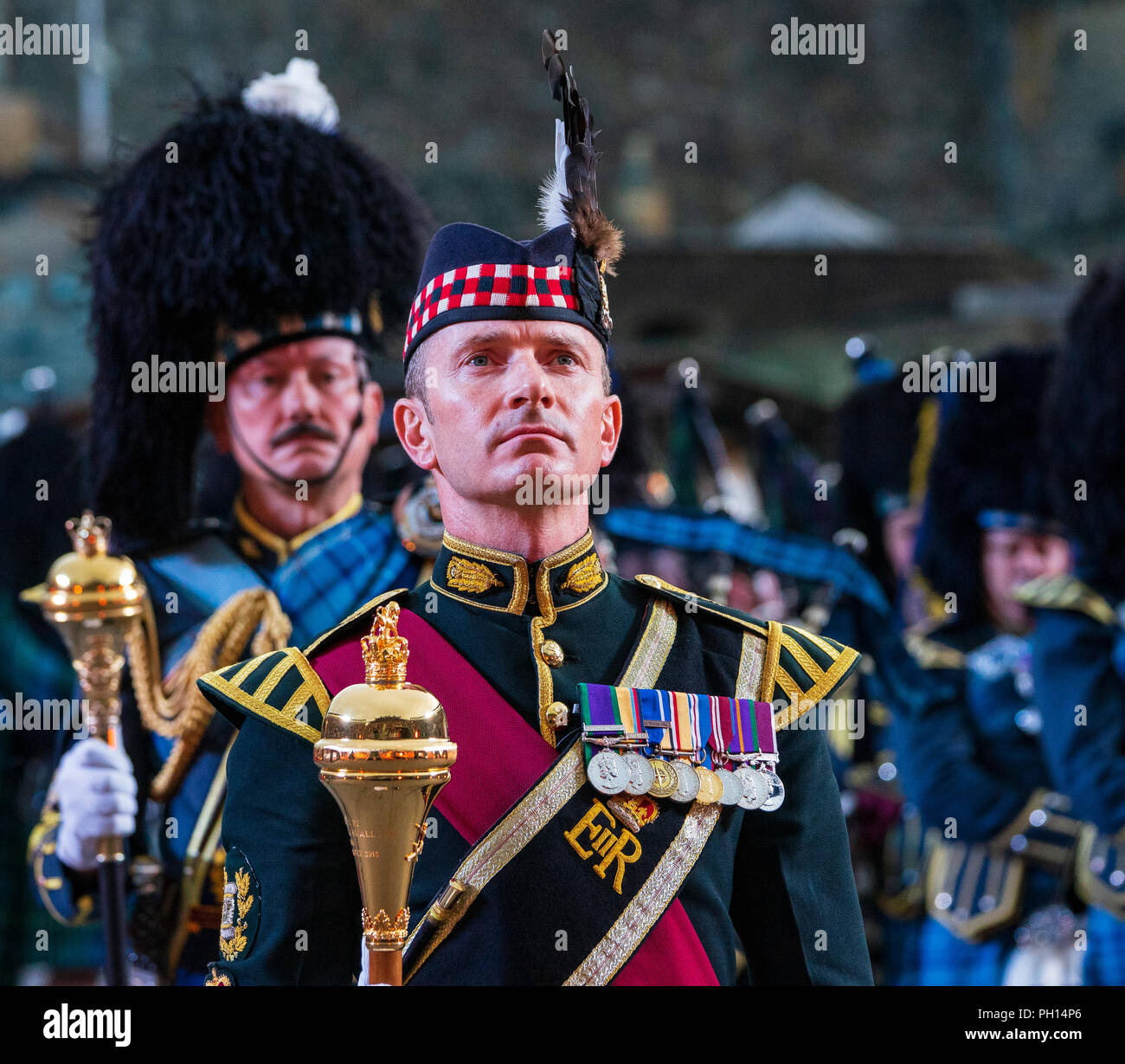 The 2018 Royal Edinburgh International Military Tattoo on esplanade of Edinburgh Castle, Scotland, UK. The Massed Pipes and Drums. - Stock Image
