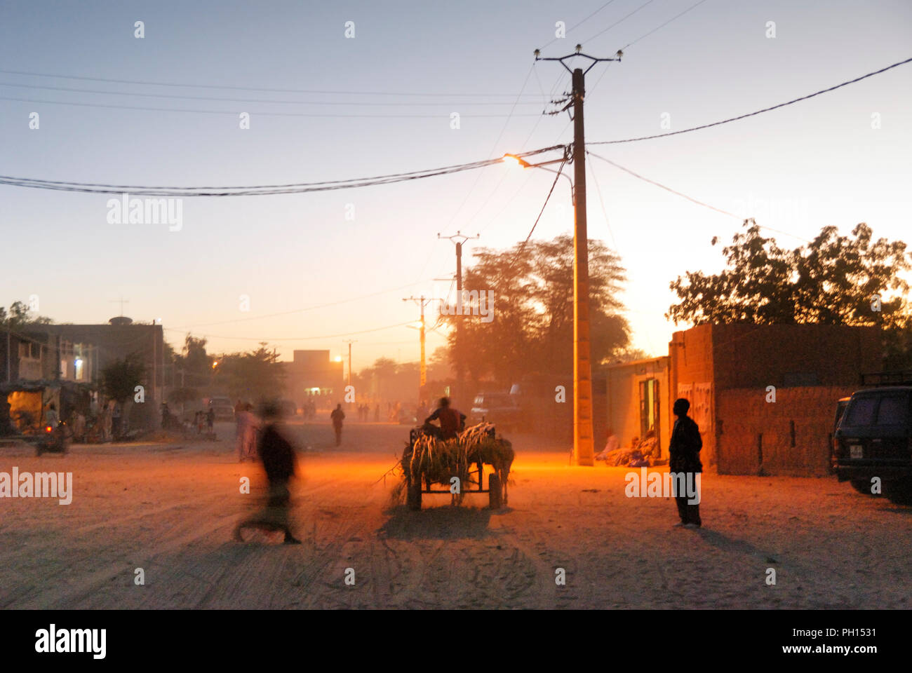 Street scene, Timbuktu, a Unesco World Heritage Site. Mali, West Africa - Stock Image