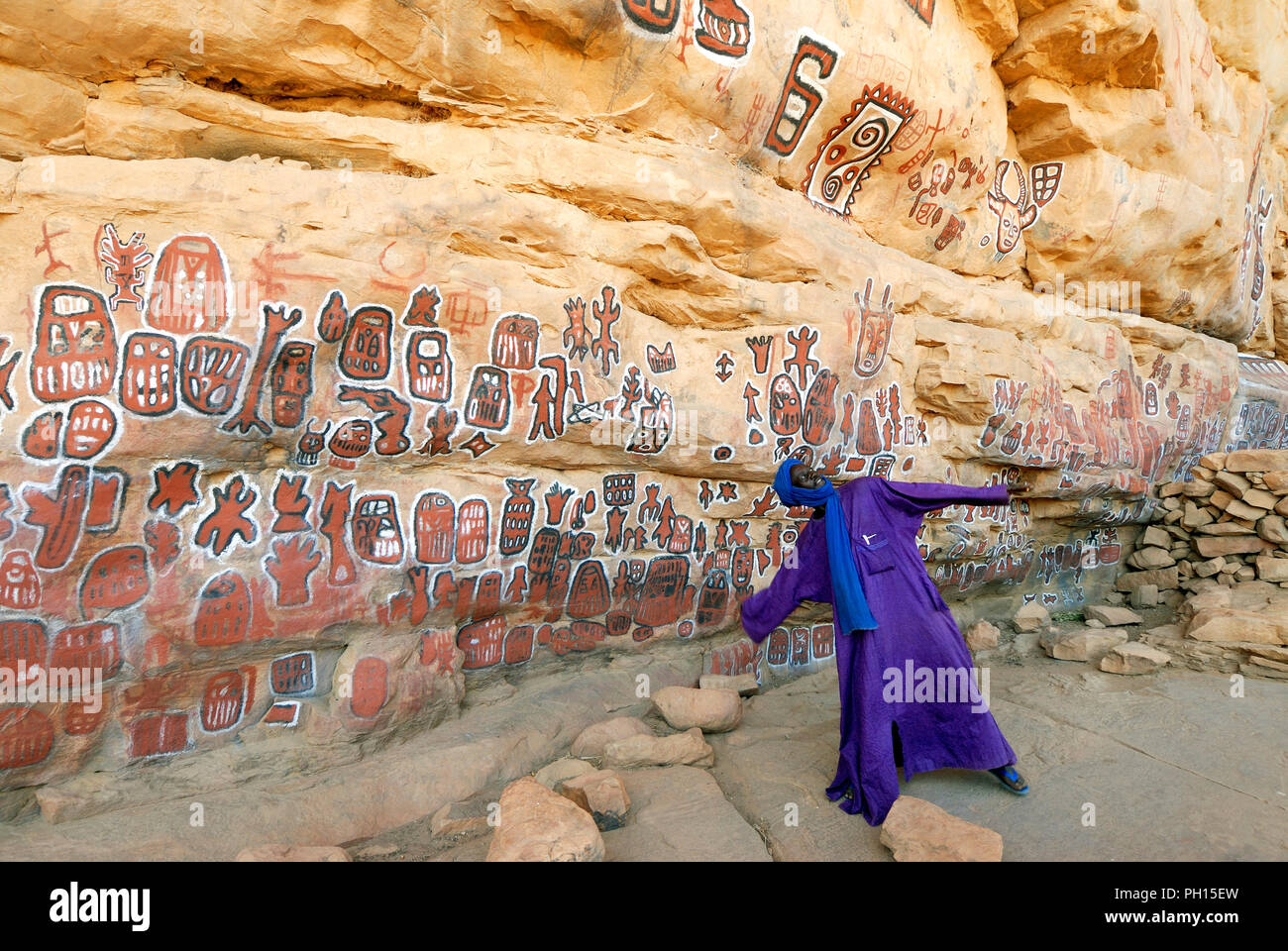 A Decorated Wall At The Dogon Village Of Songho Magic Symbols