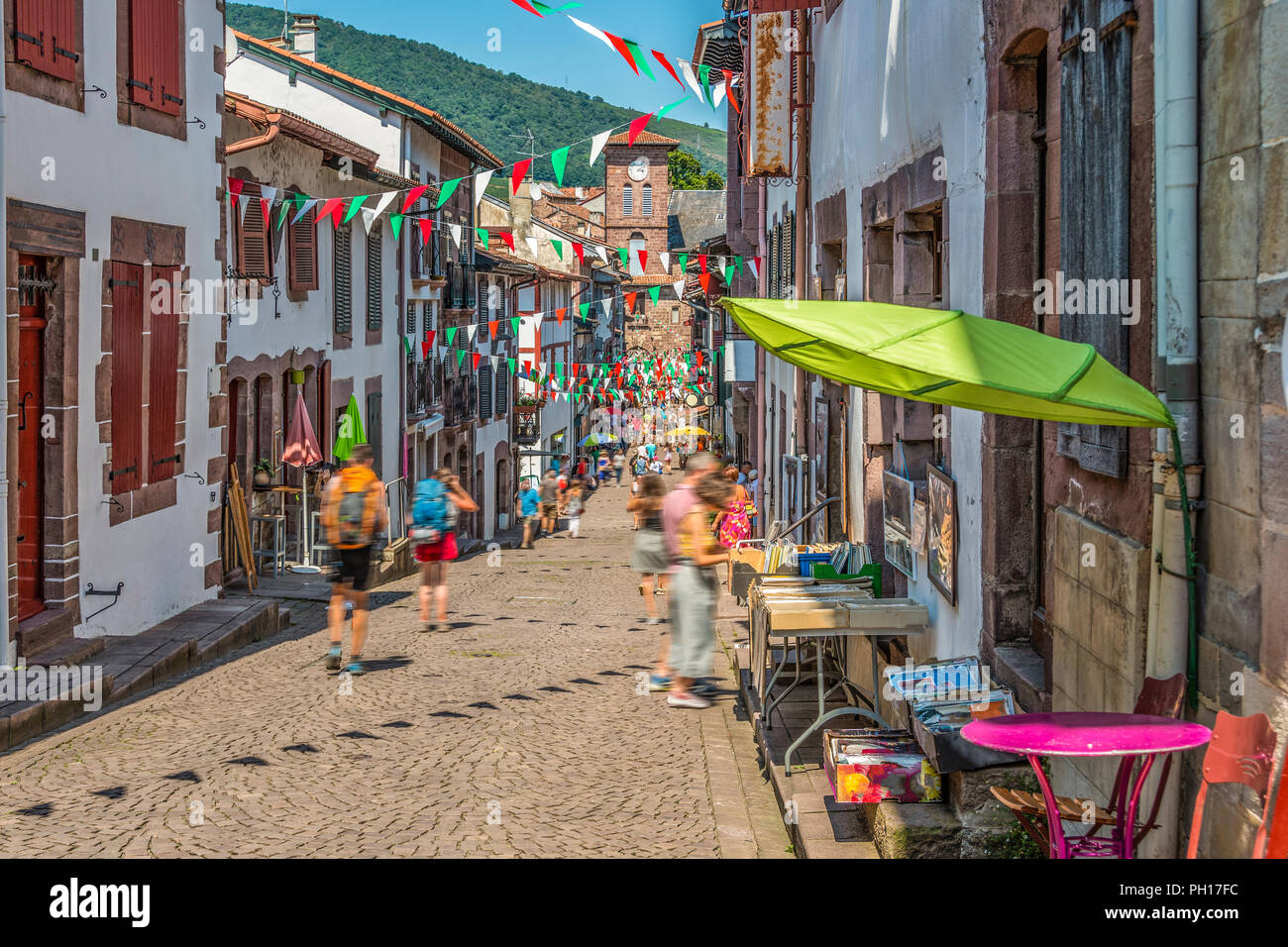Main street of the medieval village Saint Jean Pied de Port in the Pyrenees. France. - Stock Image
