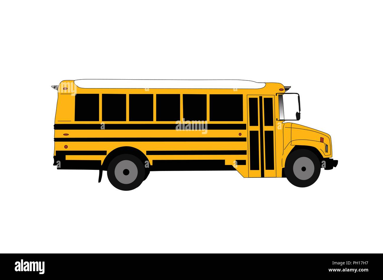 School bus isolated on white vector illustration. - Stock Image