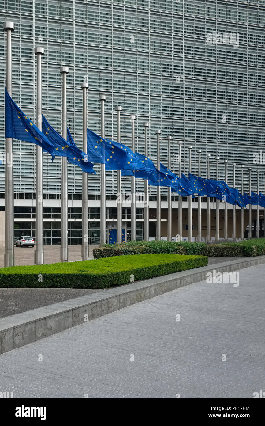 Flags of the European Comission building hanging half mast after the terror attack in Nice, Sunday 17 July 2016, Brussels, Belgium. - Stock Image