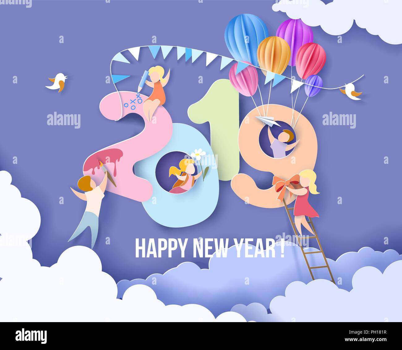 2019 New Year Design Card With Kids Blue Sky Background Vector
