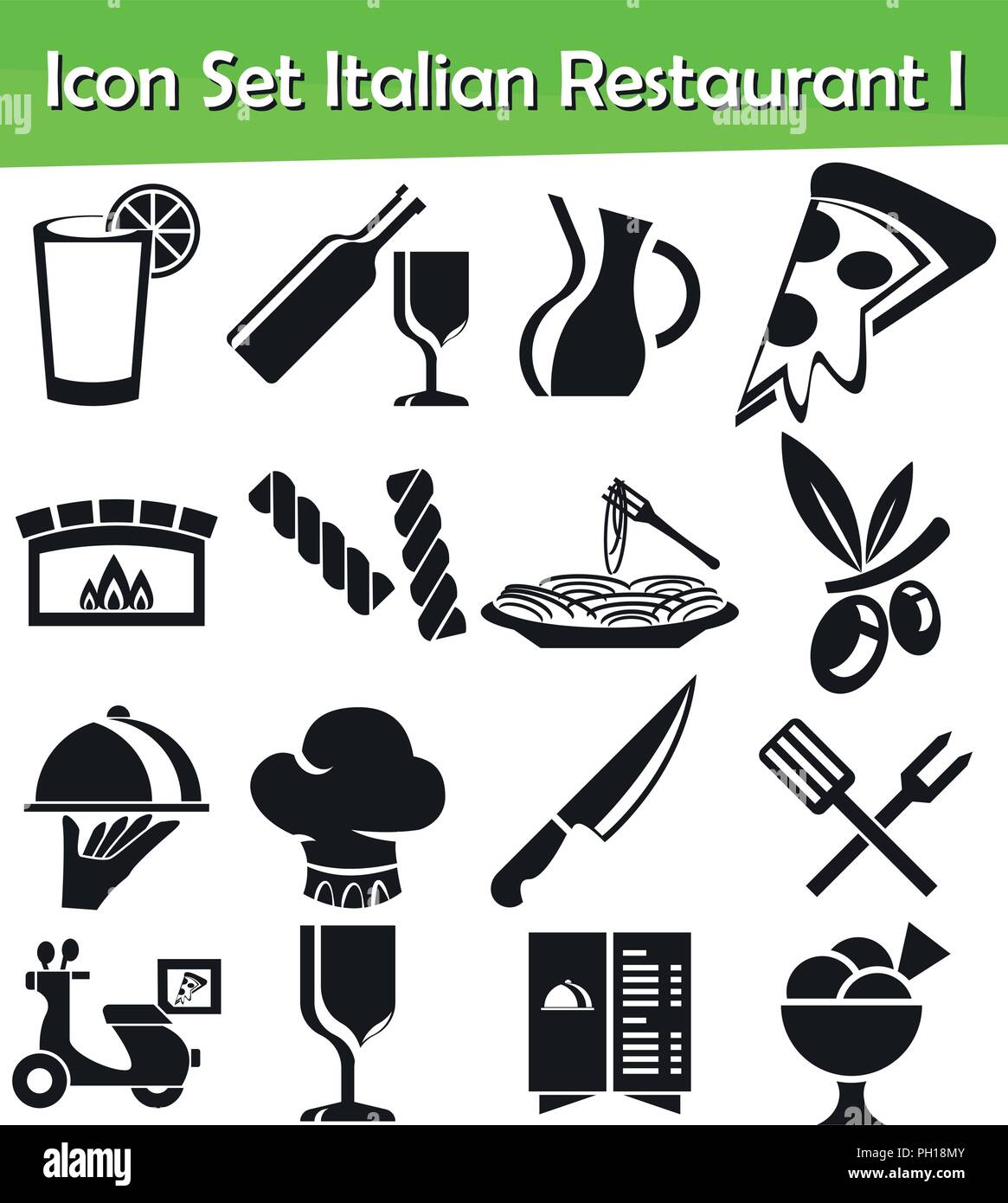 Icon Set Italian Restaurant I With 16 Icons For The Creative Use In
