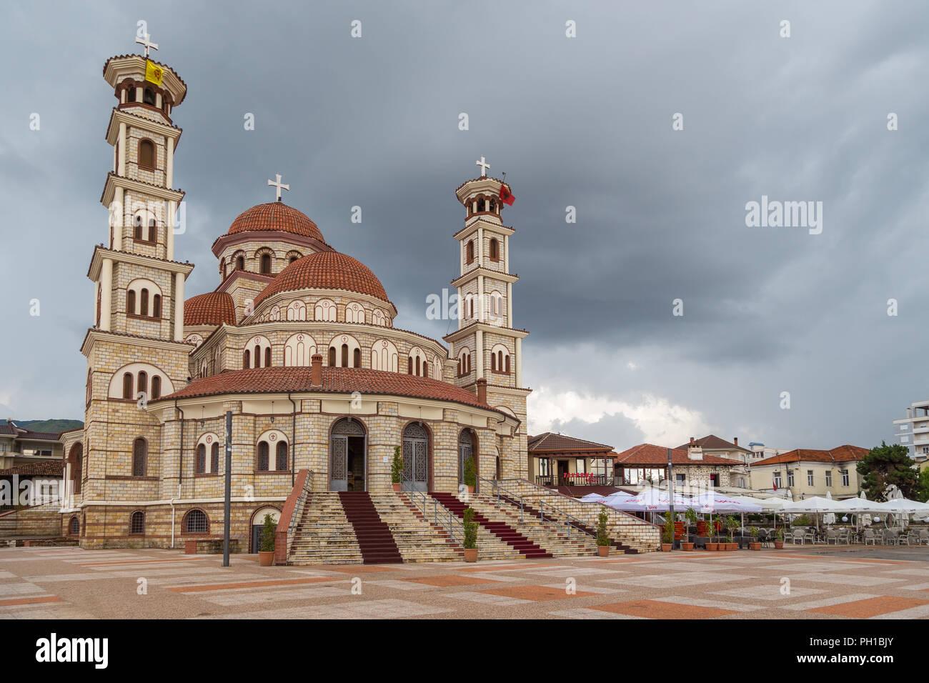 Korce, Albania- 27 June 2014: Resurrection of Christ Orthodox Cathedral of Korce, the main orthodox church. Korce, big town in southeastern Albania su - Stock Image