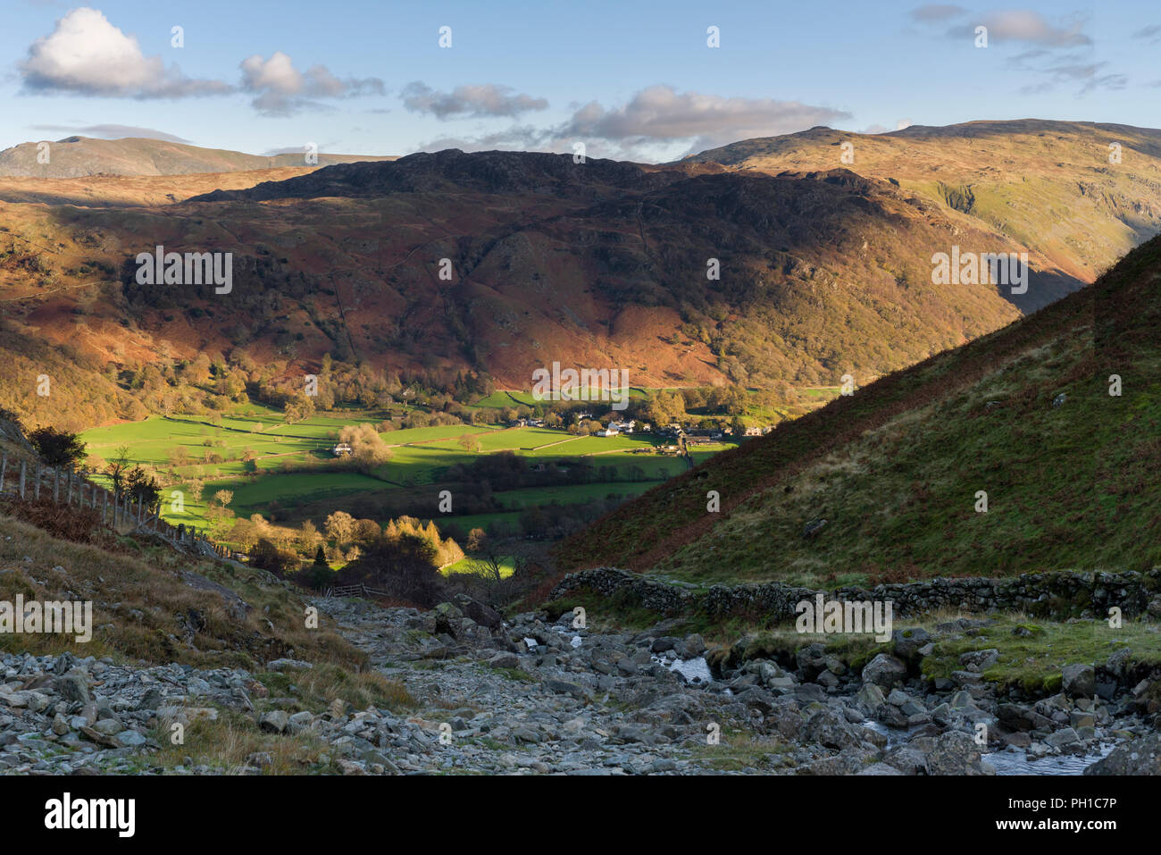 Tounge Gill below Rigghead Quarries with Rosthwaite in the Borrowdale Valley beyond in the Lake District National Park, Cumbria., England. Stock Photo