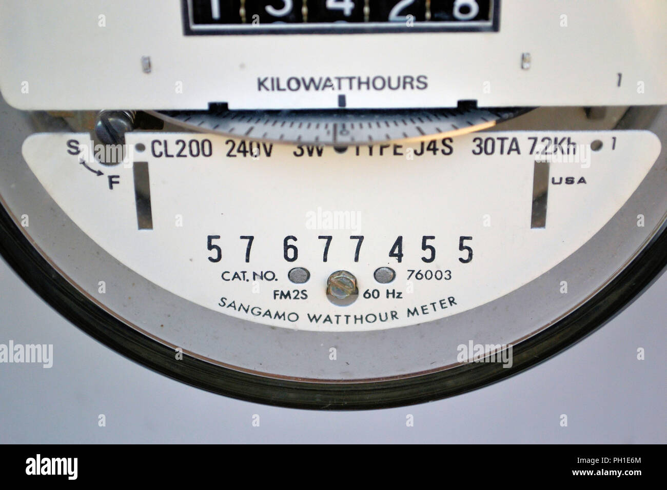 Close-up of a Sangamo electric watthour meter. - Stock Image
