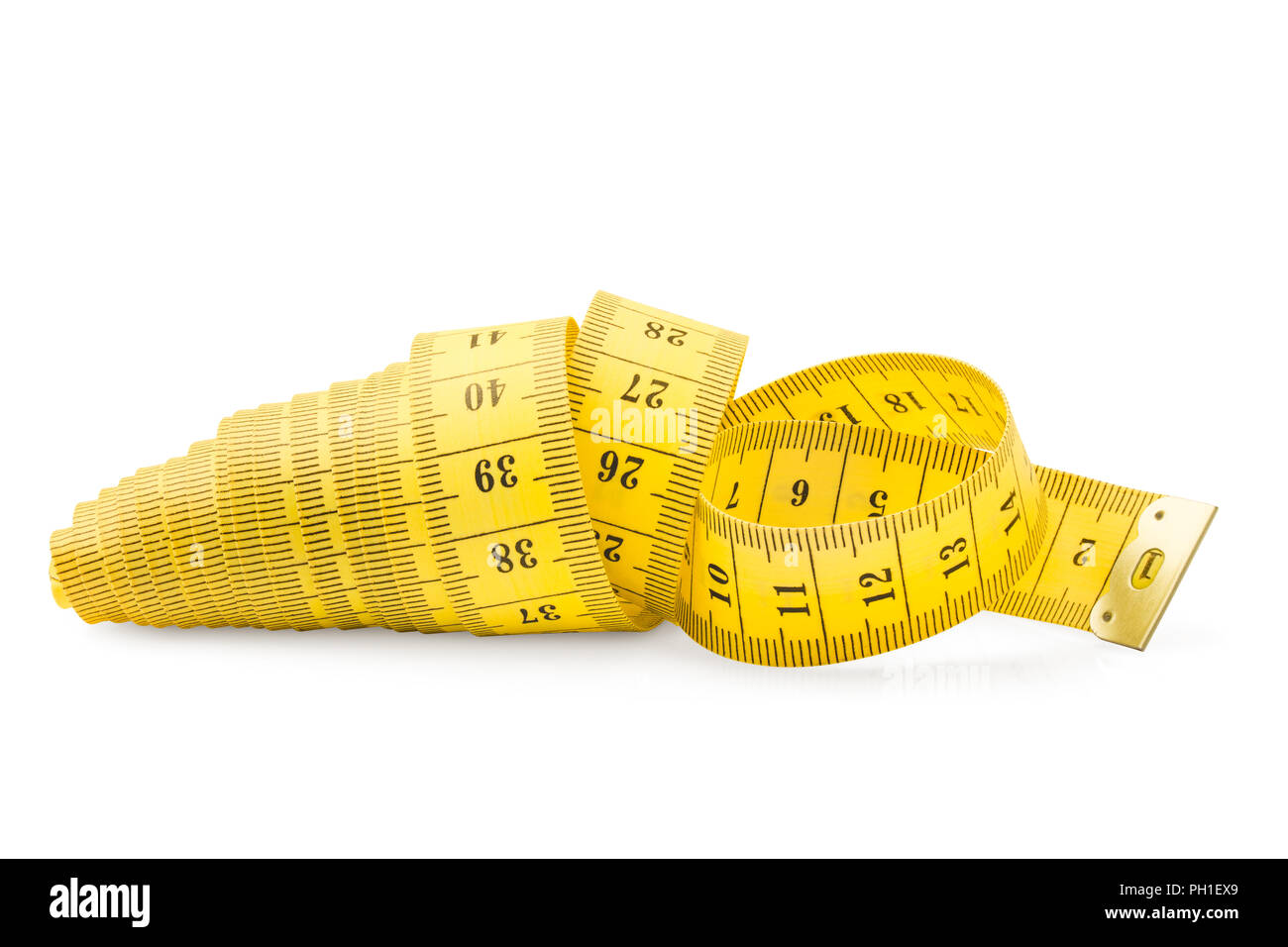 measuring tape, isolated on white background, slimming concept - Stock Image