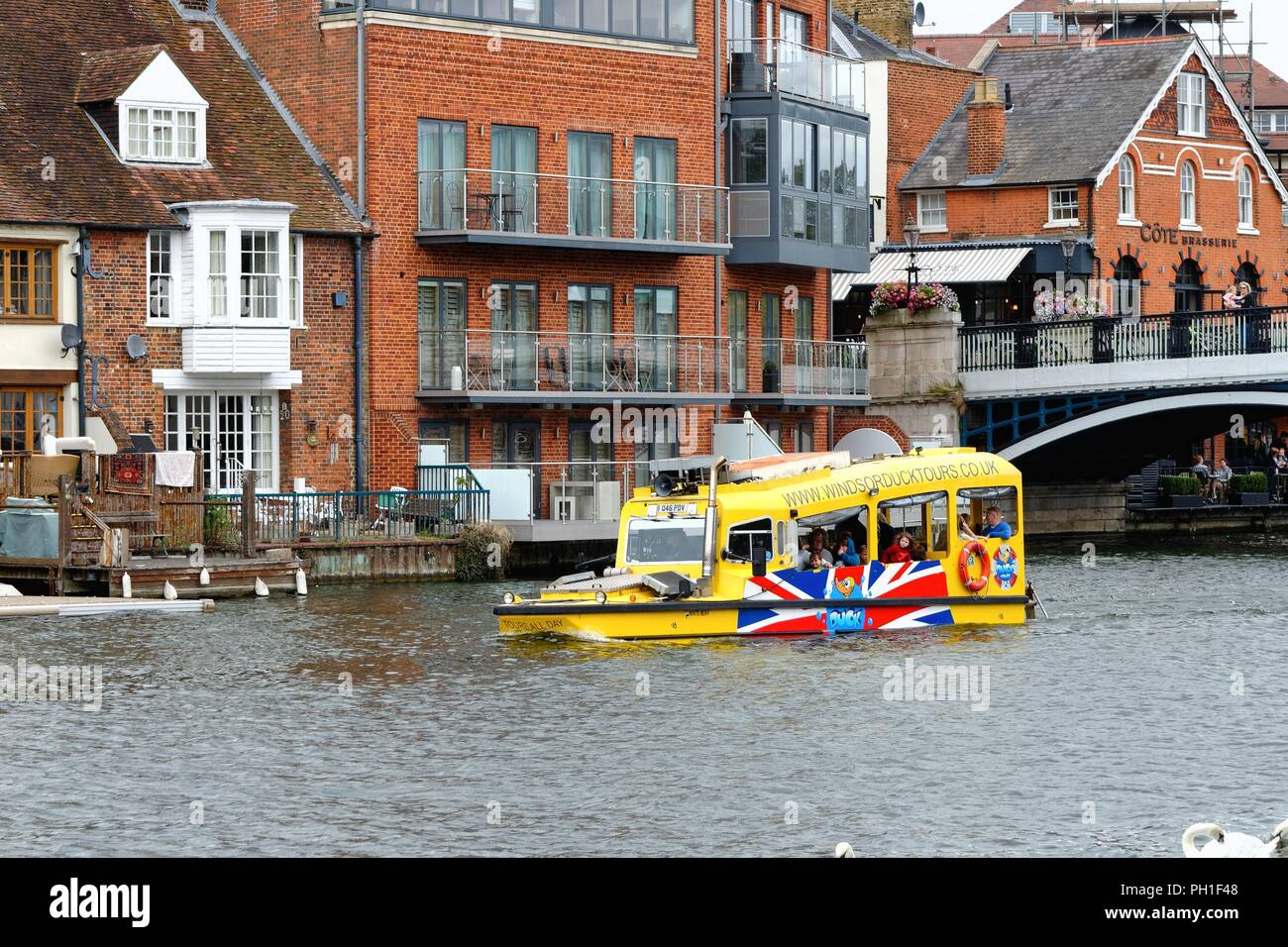 A Windsor Duck Tours amphibious boat on the River Thames at Eton and Windsor Berkshire England UK - Stock Image