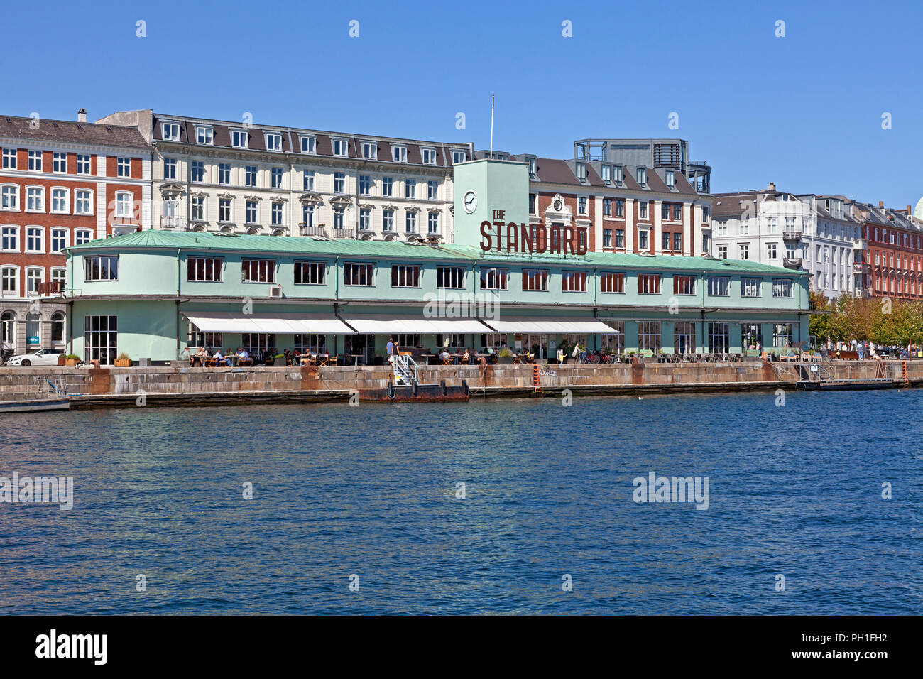 The Standard, a restaurant complex on the Havnegade quay, Copenhagen. The building from 1937 was used by ferry services to Sweden and as custom house.Stock Photo