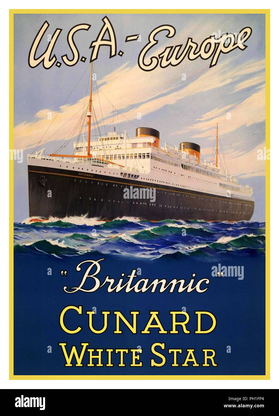 Vintage 1930's Cruise Ship Ocean Liner Cunard 'Brittanic' White Star Line USA-Europe - Stock Image