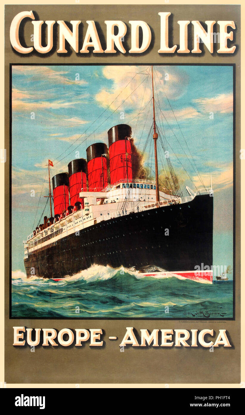 Cunard Line Europe America Original vintage travel