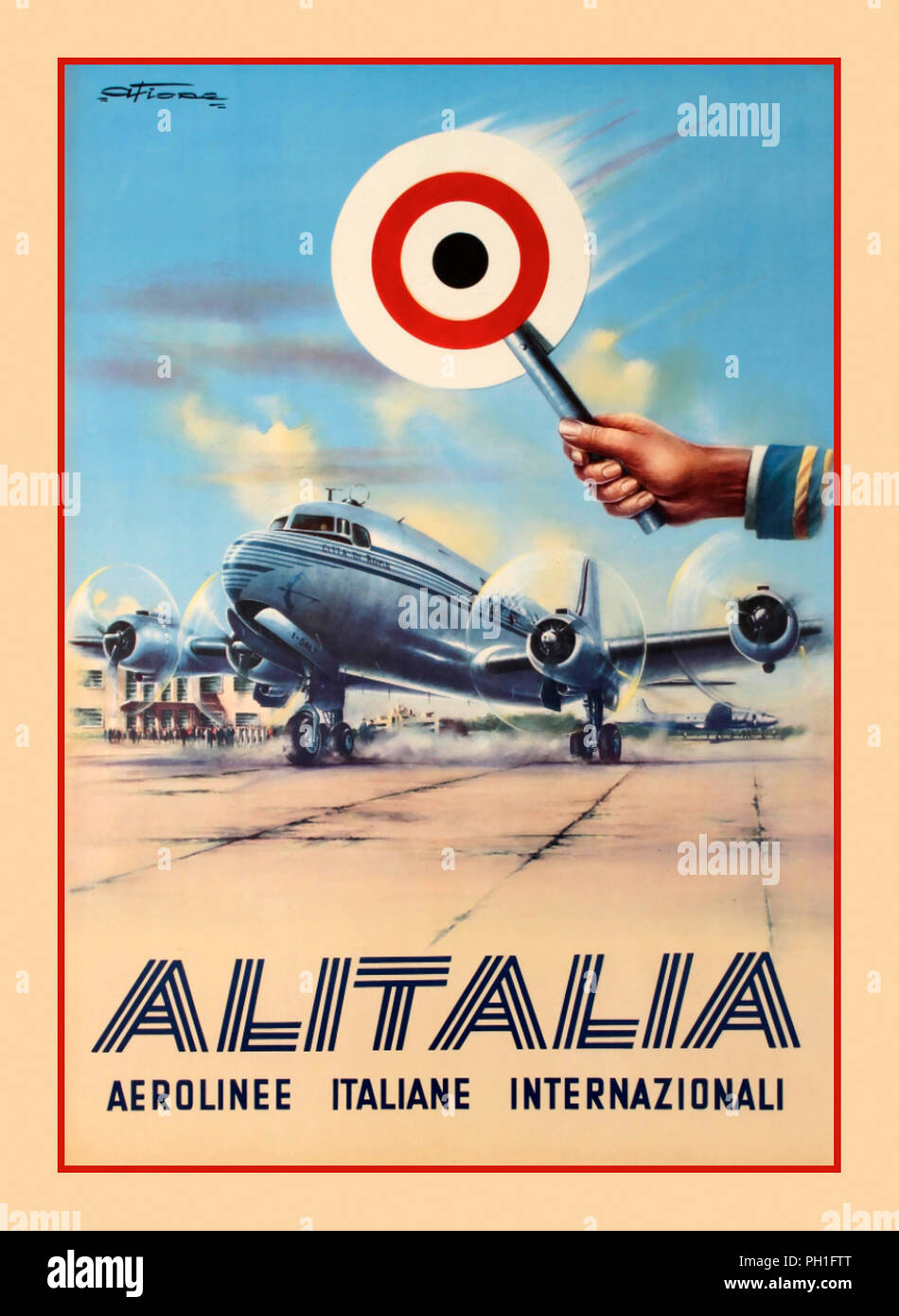 Alitalia – Linee Aeree Italiane S.p.A., established in 1946 as Aerolinee Italiane Internazionali, more commonly known as Alitalia.  Vintage 1950's ALITALIA airline aviation Post War WW2 poster with an Alitalia Douglas DC-4 aircraft on stand named 'Citta de Roma' (aircraft registration I-DALZ). Alitalia bought the plane from Pan Am as 'Clipper Golden Eagle' in 1950 renamed to 'Citta de Roma' - Stock Image