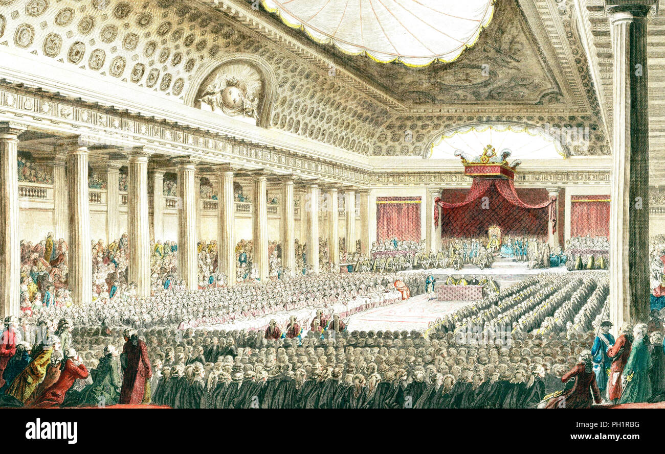 The opening of the Estates General May 5, 1789 in the Salle des Menus Plaisirs in Versailles. - Stock Image