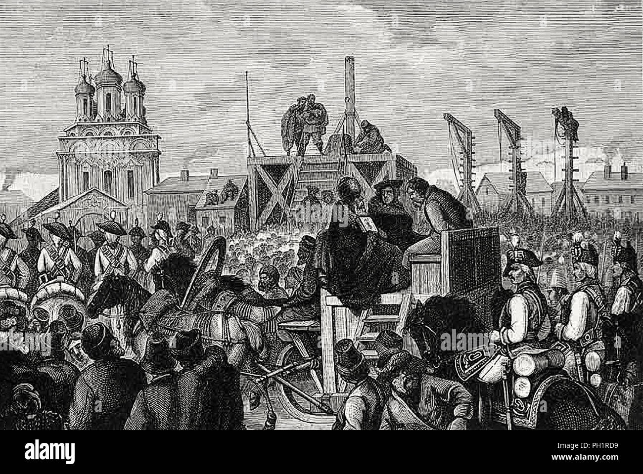 Execution of Pugachev, 1775 A.I. Sharleman - Stock Image
