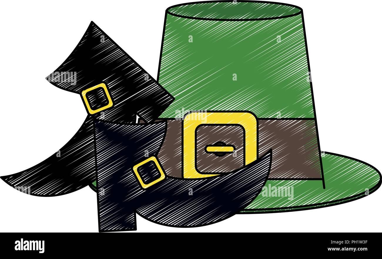 e783da80cbd Irish elf hat and shoes scribble - Stock Vector