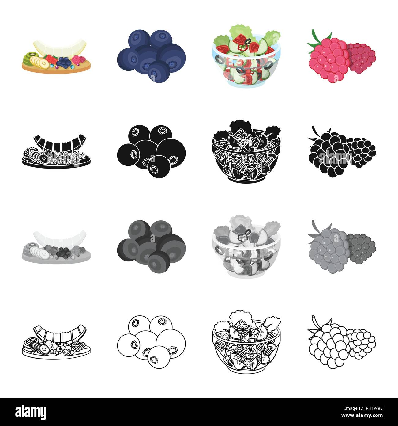 Cutting board with fruits, blueberries, raspberries, dessert, food, vegetable salad with vegetables. Fruit and dessert set collection icons in cartoon - Stock Vector