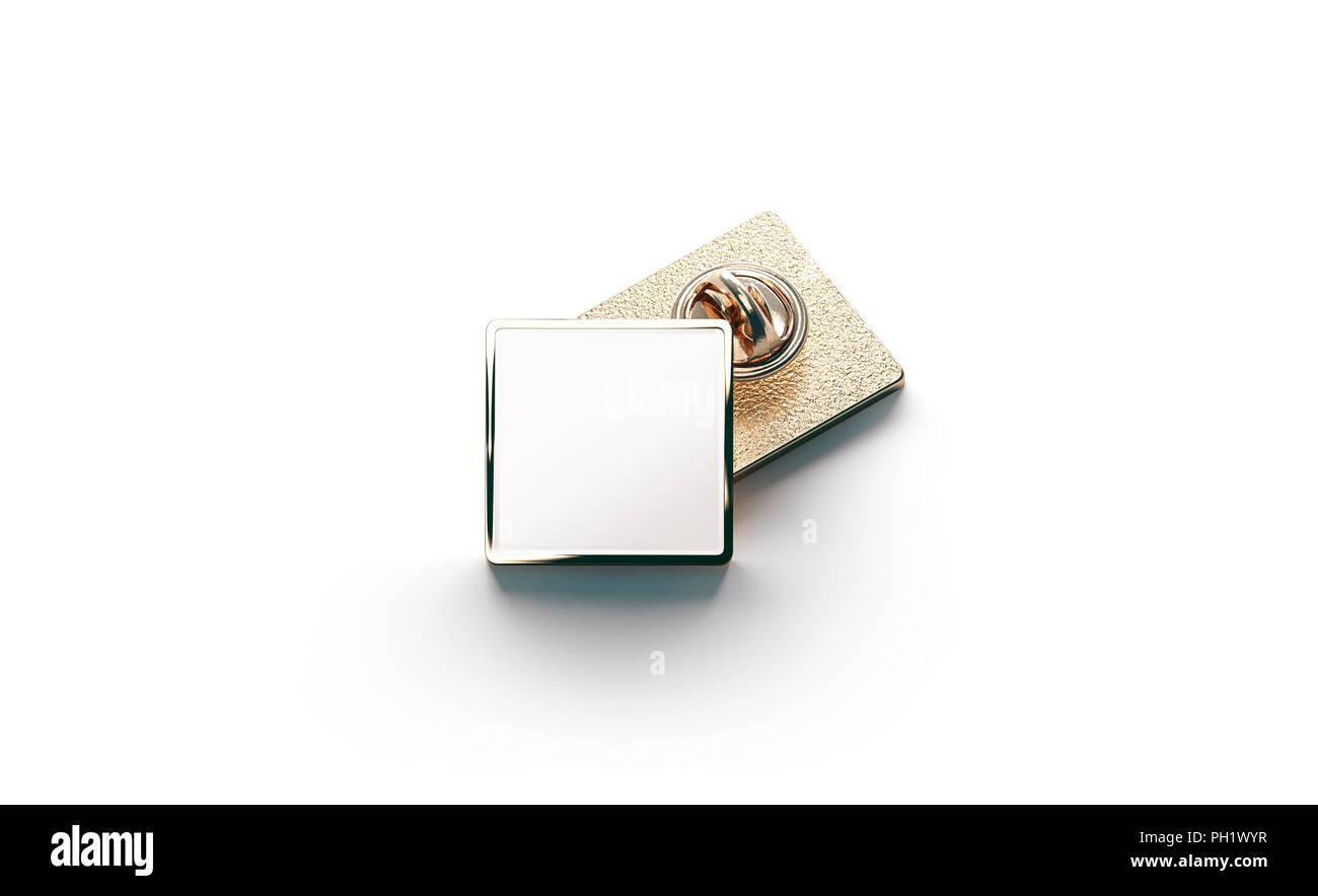 Blank White Gold Lapel Badge Mock Ups Stack 3d Rendering Empty Luxury Hard Enamel Pin Mockup Golden Clasp Design Template Expensive Square Bro