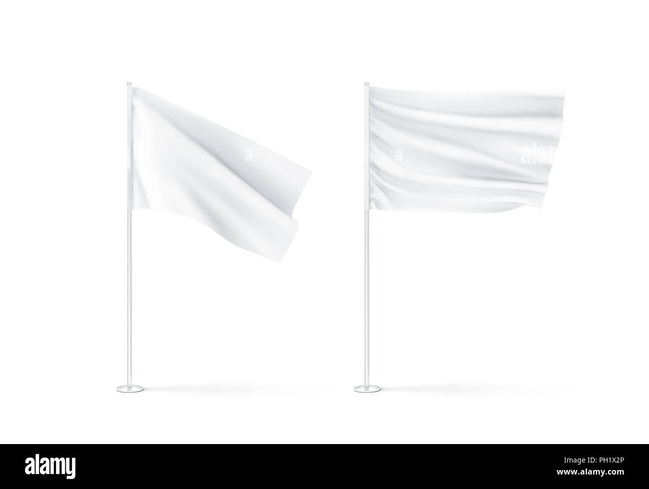 Blank white waving flags mockup, 3d rendnering. Clear rippled flagpole design mock up. Pole with banner on wind. Business branding cloth pennon. Clean - Stock Image