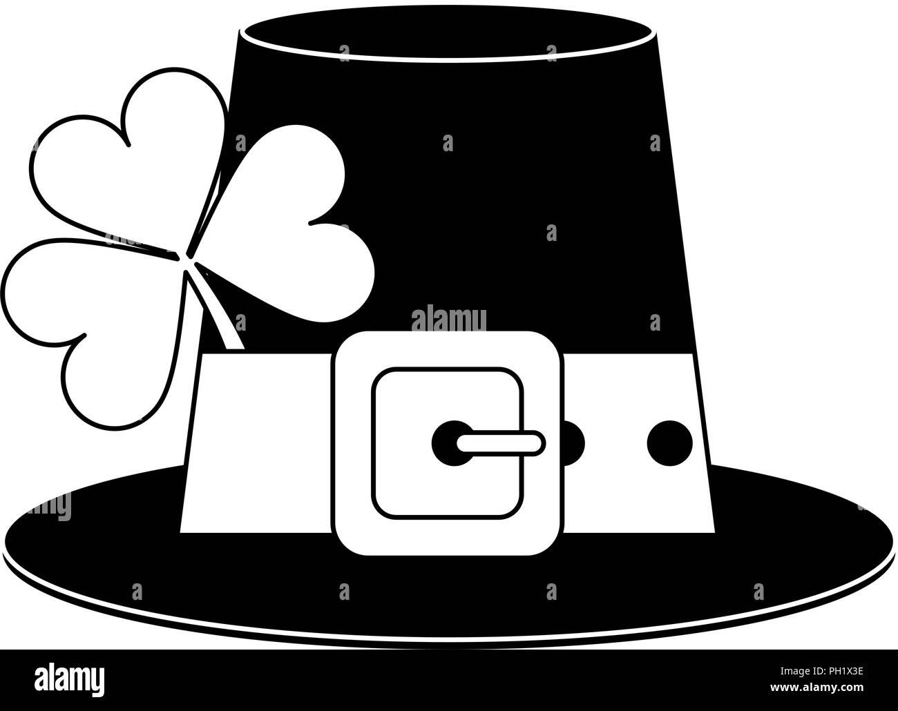 445f6871f3f Irish elf hat element in black and white - Stock Image