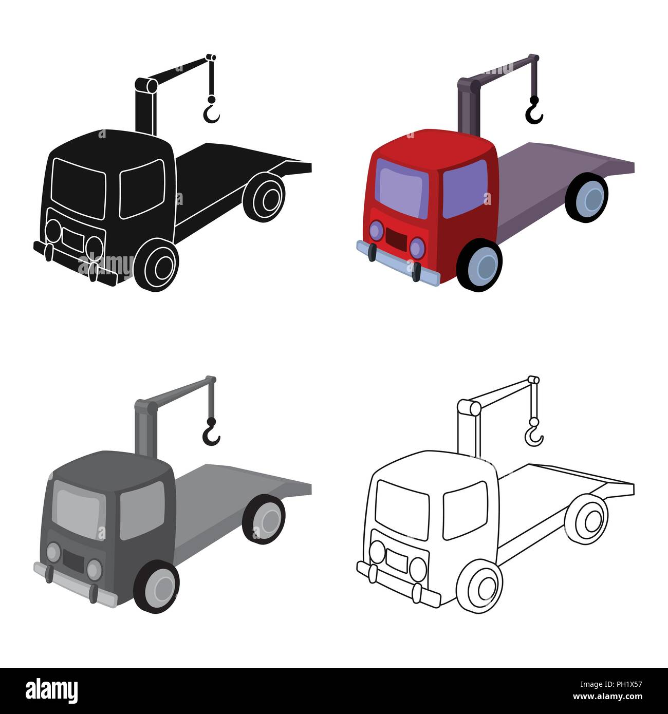 Tow Truck Icon In Cartoon Design Isolated On White Background