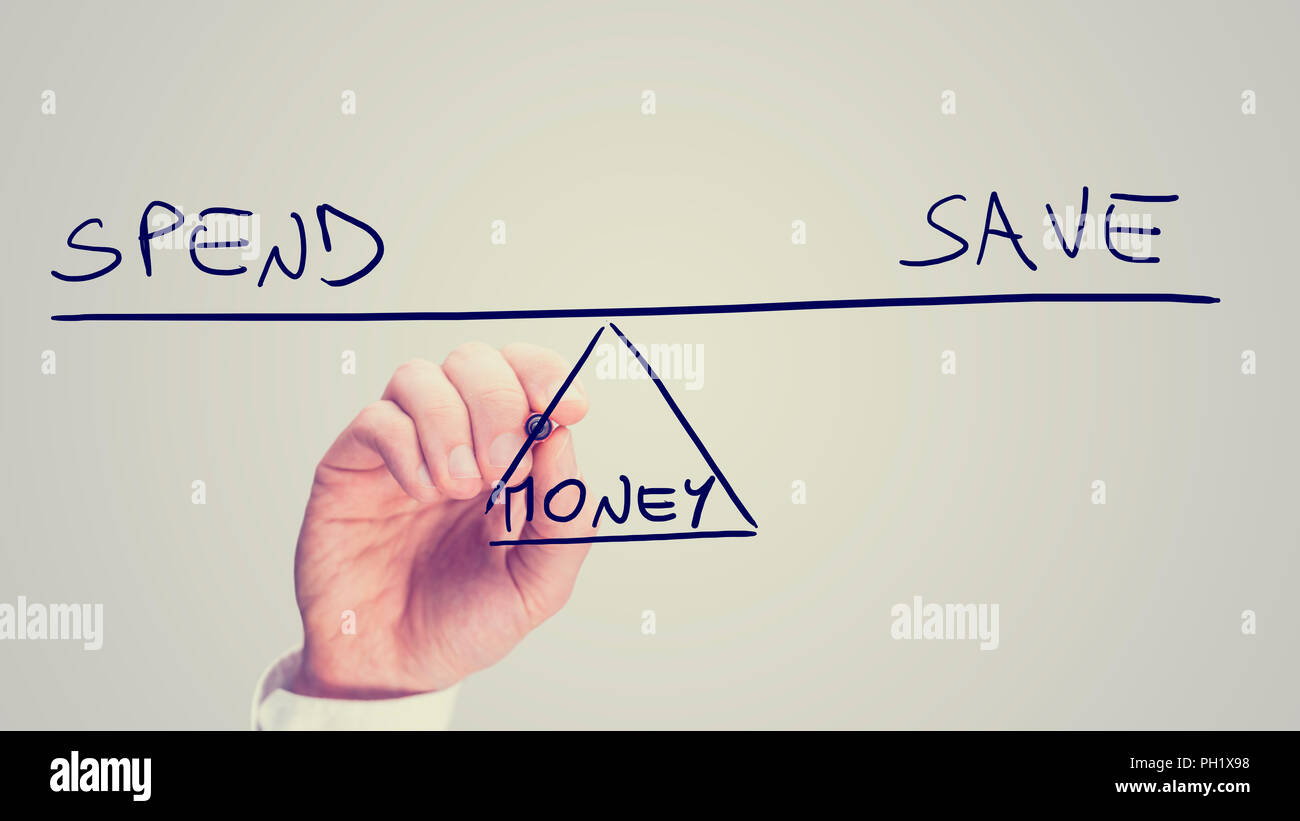 Conceptual Retro Image Of Whether To Spend Or Save Your Money With A